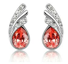 Amazing Red Crystal Angel Wings Silver Studs Earrings Rhinestone E370