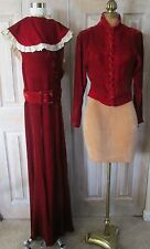 4 pc Vintage 1930's Ruby Red Silk Velvet Sheath Dress,Button Jacket,Belt,Collar