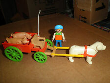 Vintage Playmobil 5505 ~ Boy w/ Pigs and dog Cart  Victorian Mansion 5300 add-on