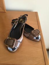 New Burberry Nova Check Canvas Leather Sling Back Ballet Flats 35 Italy $ 395