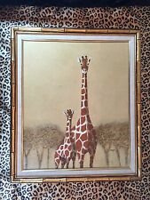 Giraffe Oil Painting Large Embossed Canvas Signed Cooper Bamboo Frame of Nature