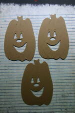 "3 Bare chipboard Large Halloween Smiling Pumpkins 3 3/8"" x 5"""