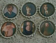 6 x Harry Potter Philosophers Stone Flattened Bottle Caps - Magnets, Hair Bows
