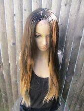 Ombre Mixed Dark Roots Brown Blonde Lace Front heat resistant Synthetic wig 22''