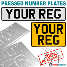 Pressed number plates oblong square car metal 4x4 front rear 100 pair uk legal