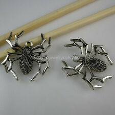 10649 10PC Large Insects Spider Pendant Charms Vintage Antique Style Silver Tone