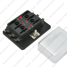 6 Way Blade Fuse Box / Holder Bus Bar With LED Failure Warning 12V 24V