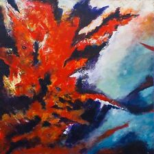STUNNING ORIGINAL BRYONY HARRISON FOREST FIRE I INFERNO  ABSTRACT PAINTING