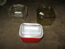 3 Fabulous Assorted Refrigerator Dishes  - Amber Clear, Red Painted & More