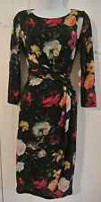 PHASE EIGHT BLACK PINK WHITE GREEN FLORAL PENCIL DRESS BODYCON UK 8 rrp £189