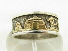 Vintage Navajo Signed Sterling Silver & Gold Filled Storyteller Band Ring Sz 11