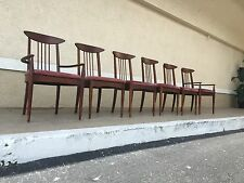 Set Of 6 Mid Century Modern Walnut Dining Chairs
