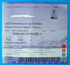BIGLIETTO TICKET CALCIO NOMINATICO A.C. FIORENTINA - JUVE STABIA TIM CUP 2012/13