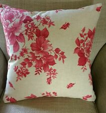 Shabby Chic Red Bloom Floral Cushion Cover Reversible French Country Linen