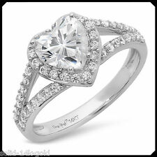 Linda 1.70CT HEART cut Diamond VVS1 Solid 14K White GOLD Engagement Wedding Ring