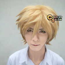 Short Straight Blonde Women Men Unisex Synthetic Anime Cosplay Full Wigs Hairs