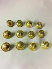 Lot of 12 Brass French Military Navy Buttons G.J.F + T.W.&W PARIS 20 mm Anchor