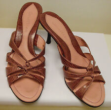 Cole Haan Pink Lizard Print Leather Strappy Heel Sandals sz 6B good cond.$39.95
