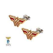 DC Comics WONDER WOMAN Logo Stainless Steel Post Stud Earrings (576)