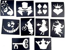 10 x alice in wonderland stencils top up your glitter tattoo kit  facepainting