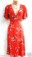 SIZE 18 30's 40's LANDGIRL WW2 STYLE TEA DRESS FLORAL STRETCH RED # EU 46 US 14