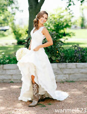 A line V Neck Country Wedding Gowns Rustic Bridal Dress Size 2 4 6 8 10 12 14++