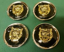 JAGUAR BLACK GOLD ALLOY WHEEL CENTER CAP BADGES BADGE NEW GENUINE SET OF 4