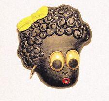 VINTAGE 1930'S CELLULOID BLACK GIRL BROOCH