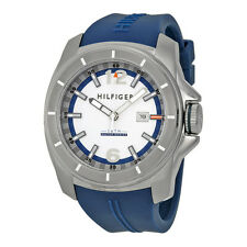 Tommy Hilfiger White and Blue Dial Blue Rubber Mens 1791113