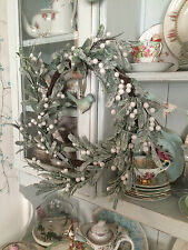 Gisela Graham frosted MISTLETOE green/white Christmas door WREATH