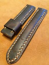 Handmade Distressed Leather Men watch strap 22mm Rustic Brown Band Steel buckle