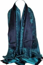 Two Sided Reversible Self Embossed Paisley & Floral Print Pashmina Feel Scarves