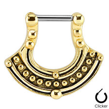 GOLD Plated Tribal Pattern SEPTUM Nose RING Clicker Hanger Stud Piercing Jewelry