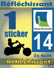 1 Sticker REFLECHISSANT département 14 rétro-réfléchissant immatriculation MOTO