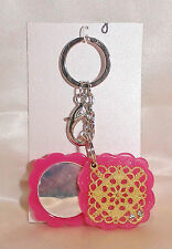 BLING HOT PINK GLITTER EGYPTIAN DESIGN KEY CHAIN OR PURSE CHARM & COMPACT MIRROR