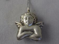 """HAN ITALY 925 STERLING SILVER 3-D ANGEL PENDANT & 18"""" CHAIN NECKLACE"""