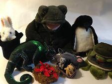 Folkmanis Puppet Lot of 9 Frog Chameleon Lizard Rabbit in Hat Turtle Cardinals