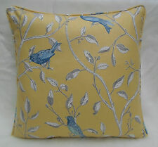 Sanderson Fabric Cushion Cover  'Finches' Yellow Colourway - 100% Cotton