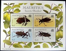 MAURITIUS INSECT STAMPS SHEET OF 4 BEETLES BUGS INSECTS