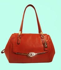 COACH 25169 MADELINE MD Vermillion Leather Satchel Shoulder Bag Msrp $298.00