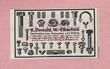 W.-ELBERFELD, Werbung 1936, K. Dewald Schrauben Ketten-Fabrikation
