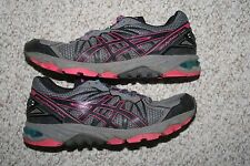 Asics running shoes 10.5 mens 42.5 European gray black & pink ten 1/2 men man