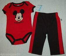Toddler Disney MICKEY MOUSE Red Snap Crotch Short Sleeve Tee Black Pants  3-6 Mo
