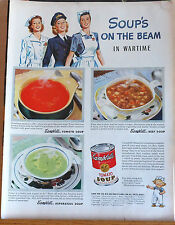 1944 magazine ad for Campbell's Soup - Soup's on the Beam in Wartime! WW2 ad