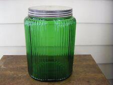 Vintage Green Depression Glass Flour/Sugar Cannister Jar