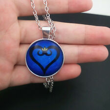 Kingdom hearts logo Glass Cabochon Tibet silver pendant chain necklace