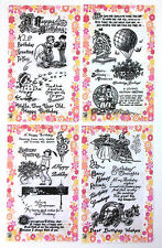 Lot of 4 sets FLONZ clear stamps acrylic 49 // Happy Birthday Greetings Wishes