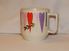 NWT STARBUCKS WHITE 12 OZ CERAMIC VALENTINES MUG MULTI COLOR HEARTS GOLD ARROW