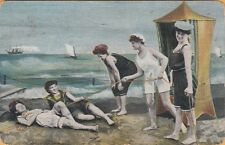 FIVE GIRLS in OLD-FASHION BATHING SUITS ~ 1907 BEAUTY