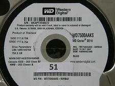 750 GB Western Digital WD7500AAKS-00RBA0 / HARNHA2AAB / OCT 2007 Hard Disk #01